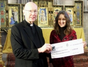 Hereford Cathedral Cheque Presentation
