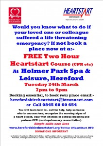 HOLMER PARK POSTER 24TH MARCH 2014